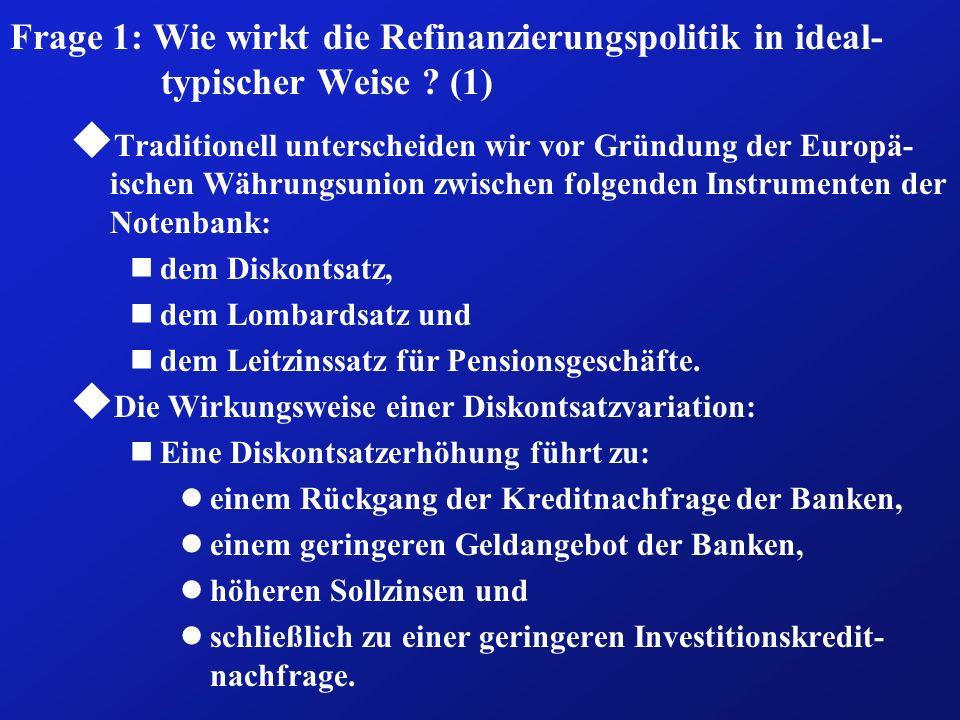 Frage 1: Wie wirkt die Refinanzierungspolitik in ideal-typischer Weise
