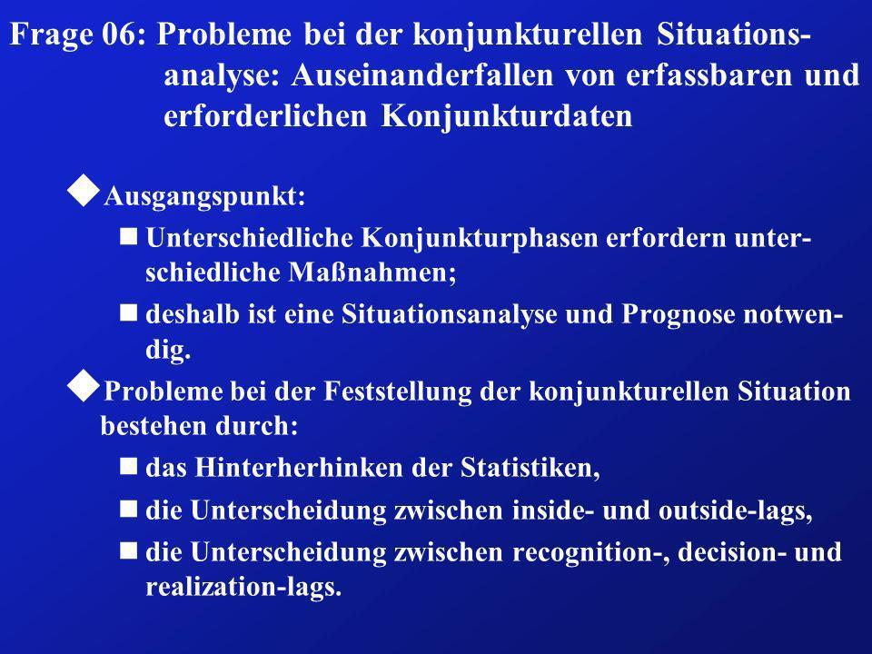 Frage 06: Probleme bei der konjunkturellen Situations-analyse: Auseinanderfallen von erfassbaren und erforderlichen Konjunkturdaten