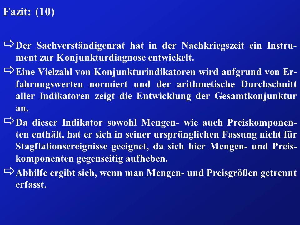 Fazit: (10) Der Sachverständigenrat hat in der Nachkriegszeit ein Instru-ment zur Konjunkturdiagnose entwickelt.