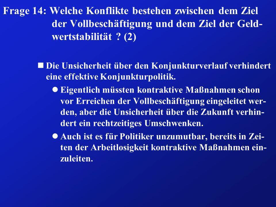 Frage 14: Welche Konflikte bestehen zwischen dem Ziel der Vollbeschäftigung und dem Ziel der Geld-wertstabilität (2)