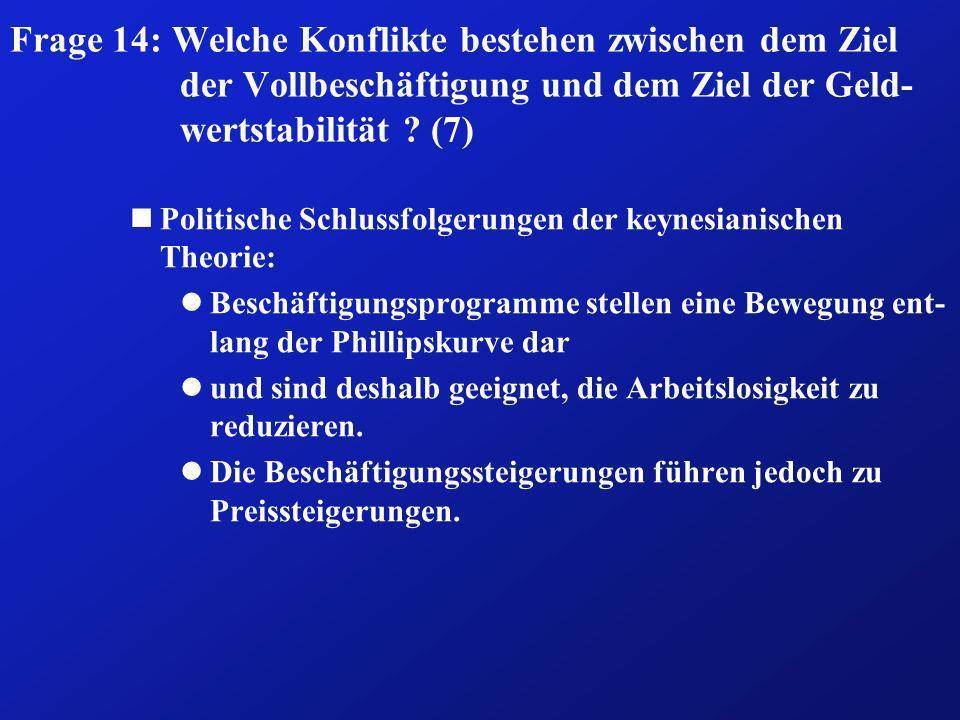 Frage 14: Welche Konflikte bestehen zwischen dem Ziel der Vollbeschäftigung und dem Ziel der Geld-wertstabilität (7)