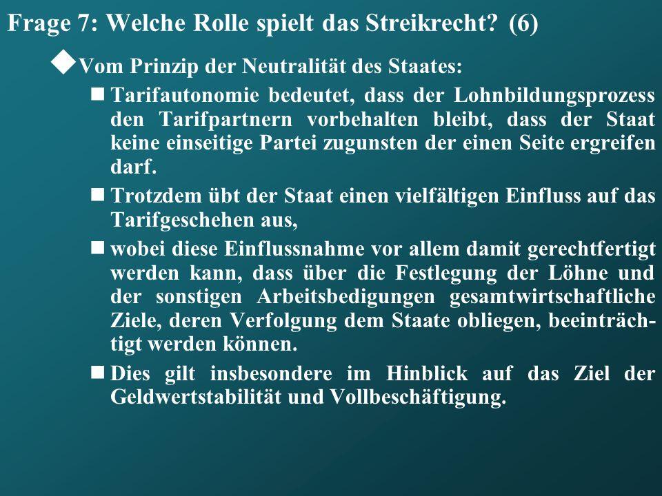 Frage 7: Welche Rolle spielt das Streikrecht (6)