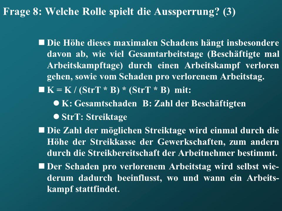Frage 8: Welche Rolle spielt die Aussperrung (3)