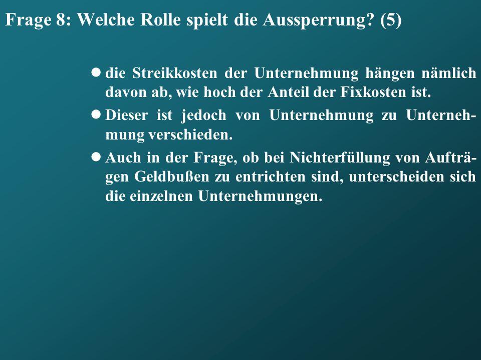Frage 8: Welche Rolle spielt die Aussperrung (5)