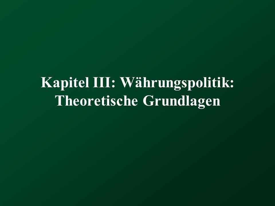Kapitel III: Währungspolitik: Theoretische Grundlagen