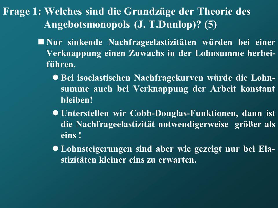Frage 1: Welches sind die Grundzüge der Theorie des Angebotsmonopols (J. T.Dunlop) (5)