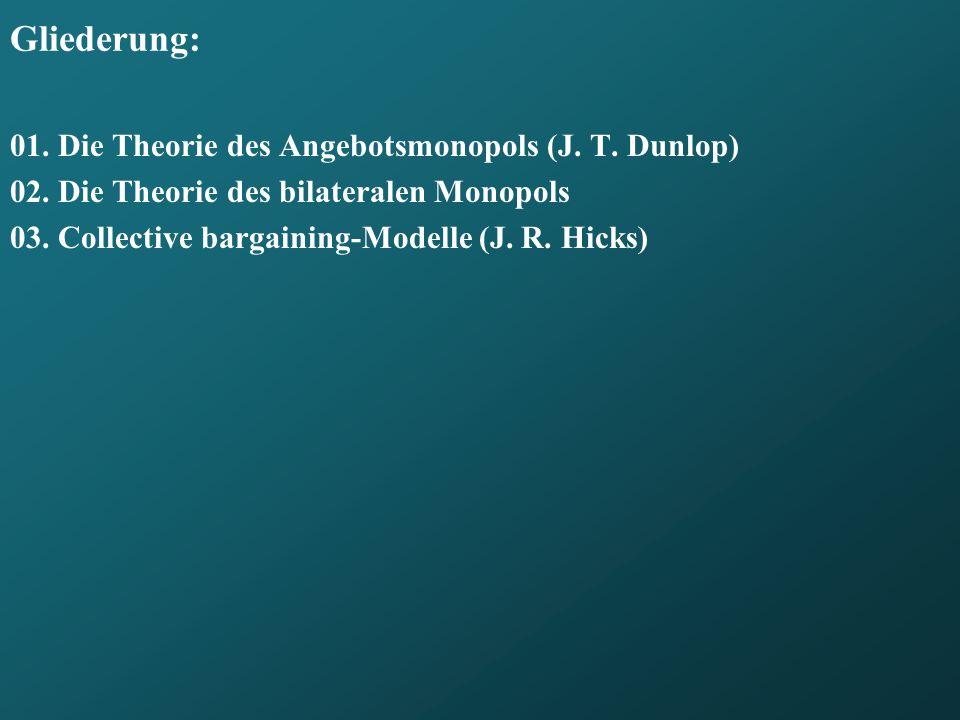 Gliederung: 01. Die Theorie des Angebotsmonopols (J. T. Dunlop)
