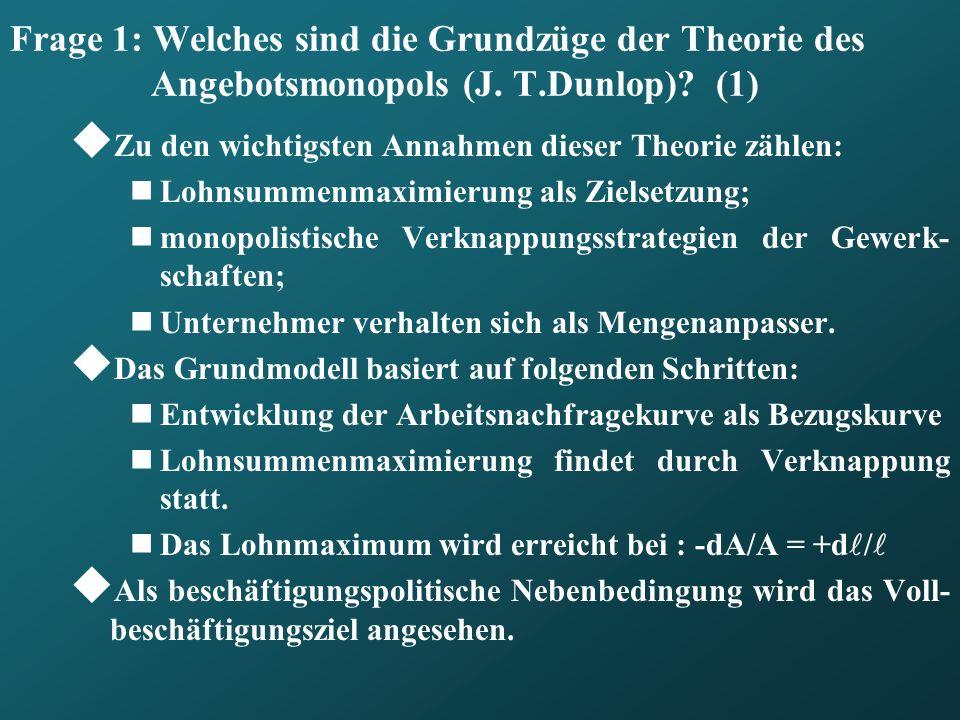 Frage 1: Welches sind die Grundzüge der Theorie des Angebotsmonopols (J. T.Dunlop) (1)
