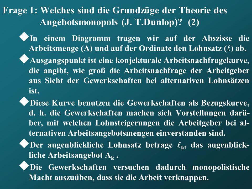 Frage 1: Welches sind die Grundzüge der Theorie des Angebotsmonopols (J. T.Dunlop) (2)