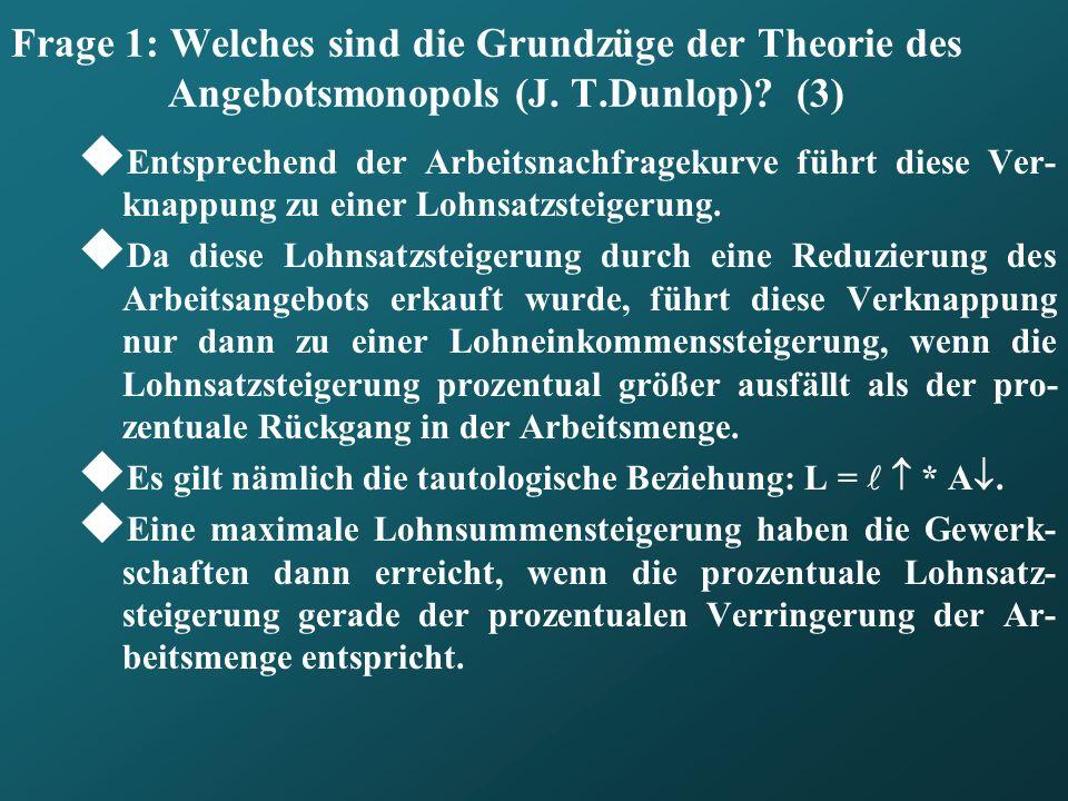Frage 1: Welches sind die Grundzüge der Theorie des Angebotsmonopols (J. T.Dunlop) (3)
