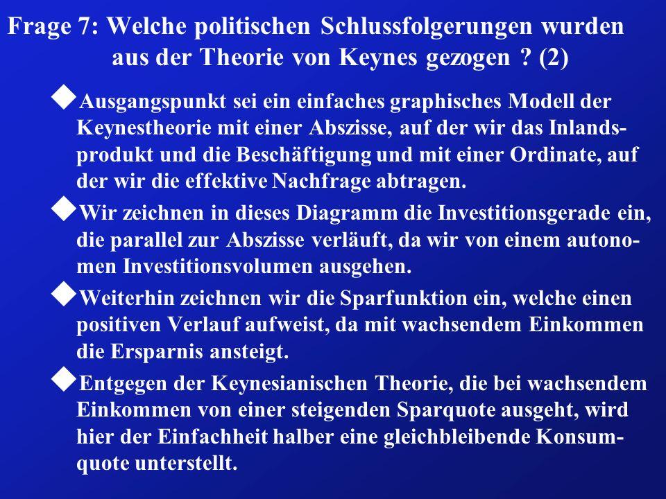 Frage 7: Welche politischen Schlussfolgerungen wurden aus der Theorie von Keynes gezogen (2)