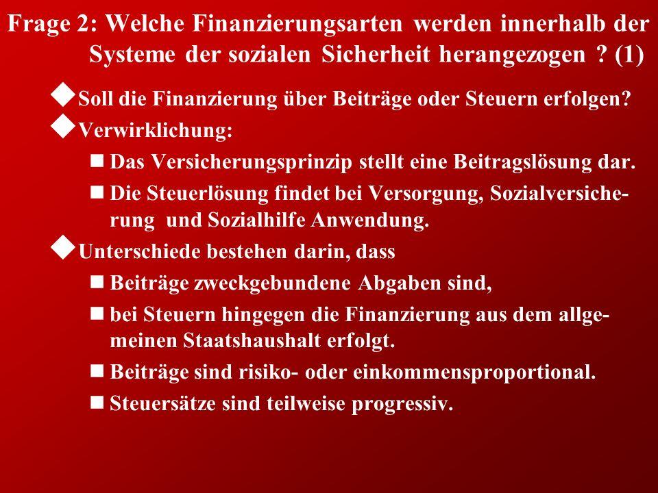 Frage 2: Welche Finanzierungsarten werden innerhalb der Systeme der sozialen Sicherheit herangezogen (1)