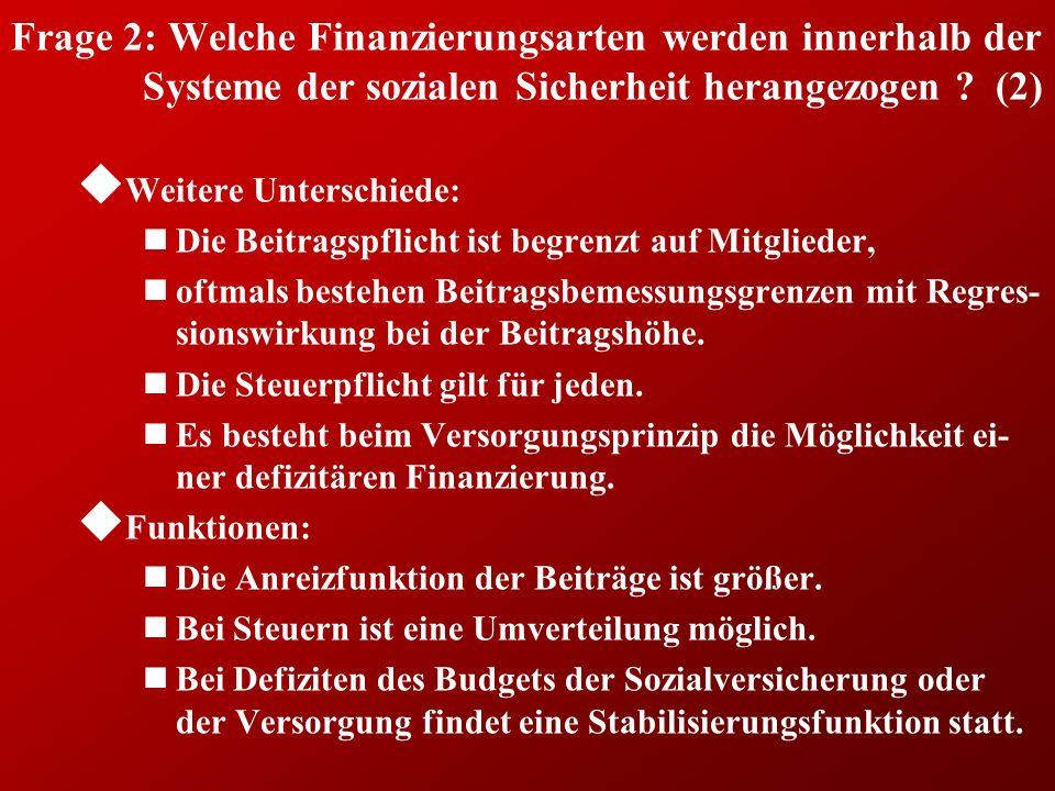Frage 2: Welche Finanzierungsarten werden innerhalb der Systeme der sozialen Sicherheit herangezogen (2)
