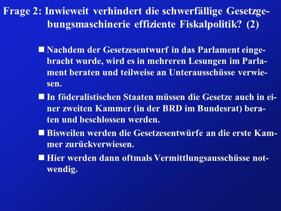 Frage 2: Inwieweit verhindert die schwerfällige Gesetzge-bungsmaschinerie effiziente Fiskalpolitik (2)