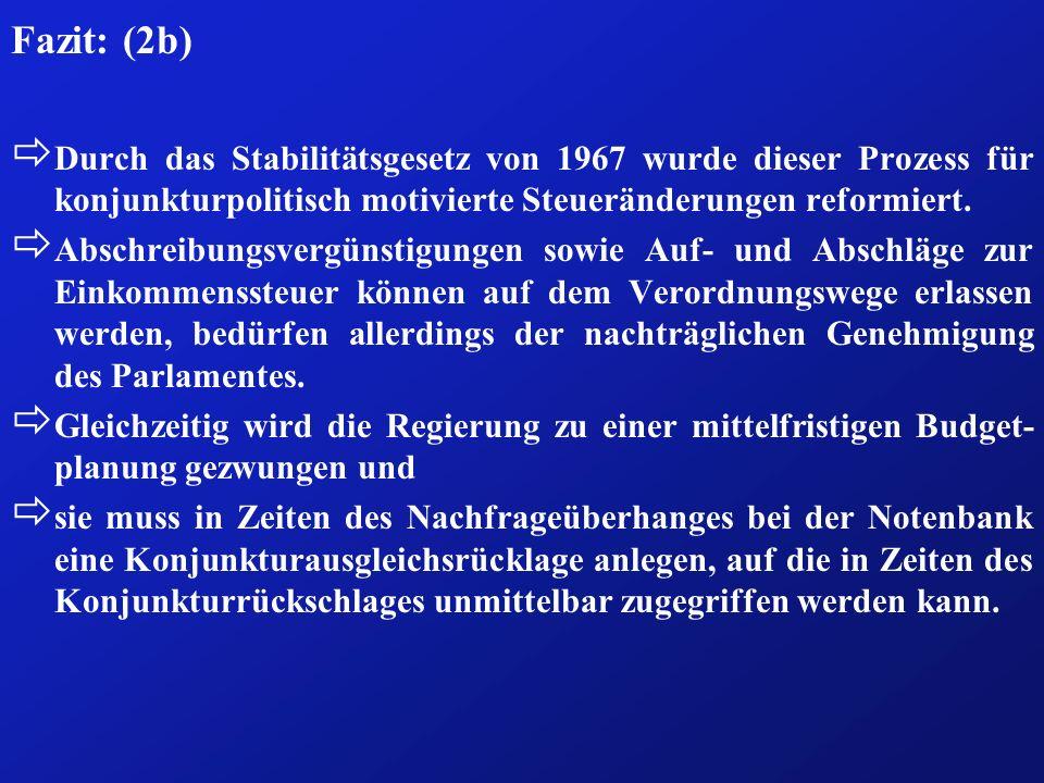 Fazit: (2b)Durch das Stabilitätsgesetz von 1967 wurde dieser Prozess für konjunkturpolitisch motivierte Steueränderungen reformiert.