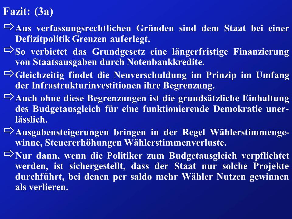 Fazit: (3a) Aus verfassungsrechtlichen Gründen sind dem Staat bei einer Defizitpolitik Grenzen auferlegt.