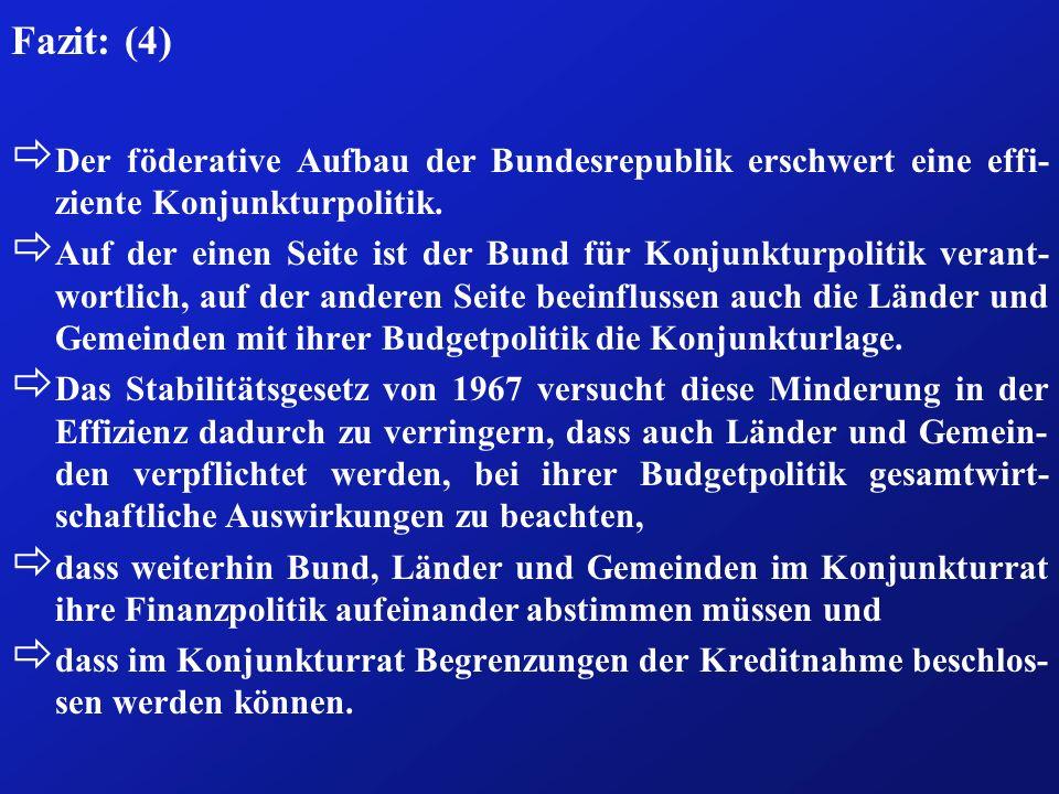 Fazit: (4)Der föderative Aufbau der Bundesrepublik erschwert eine effi-ziente Konjunkturpolitik.
