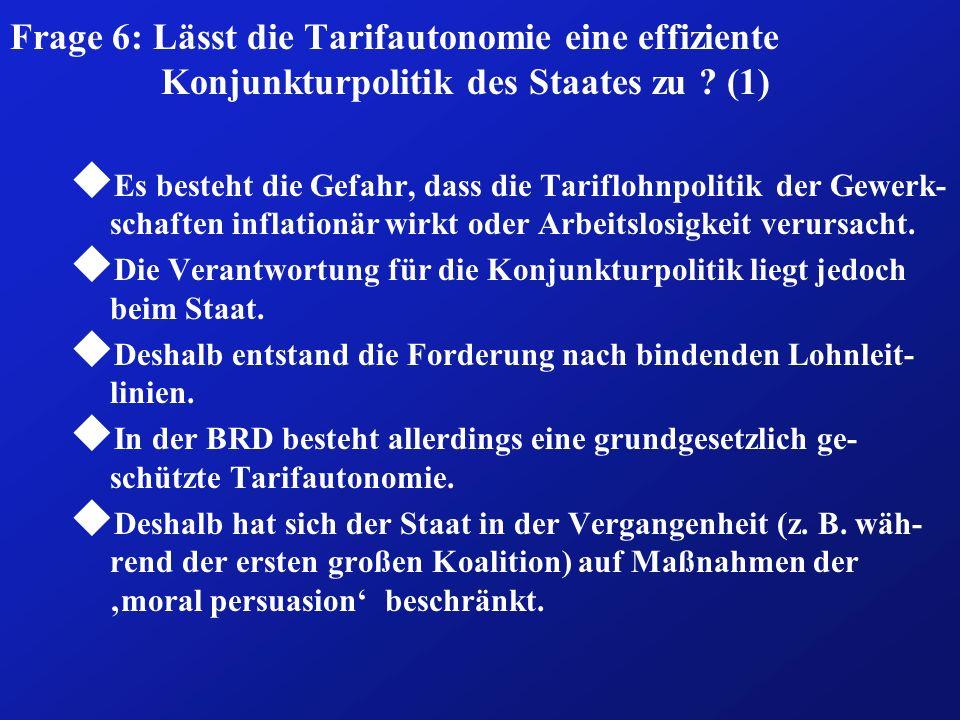 Frage 6: Lässt die Tarifautonomie eine effiziente Konjunkturpolitik des Staates zu (1)