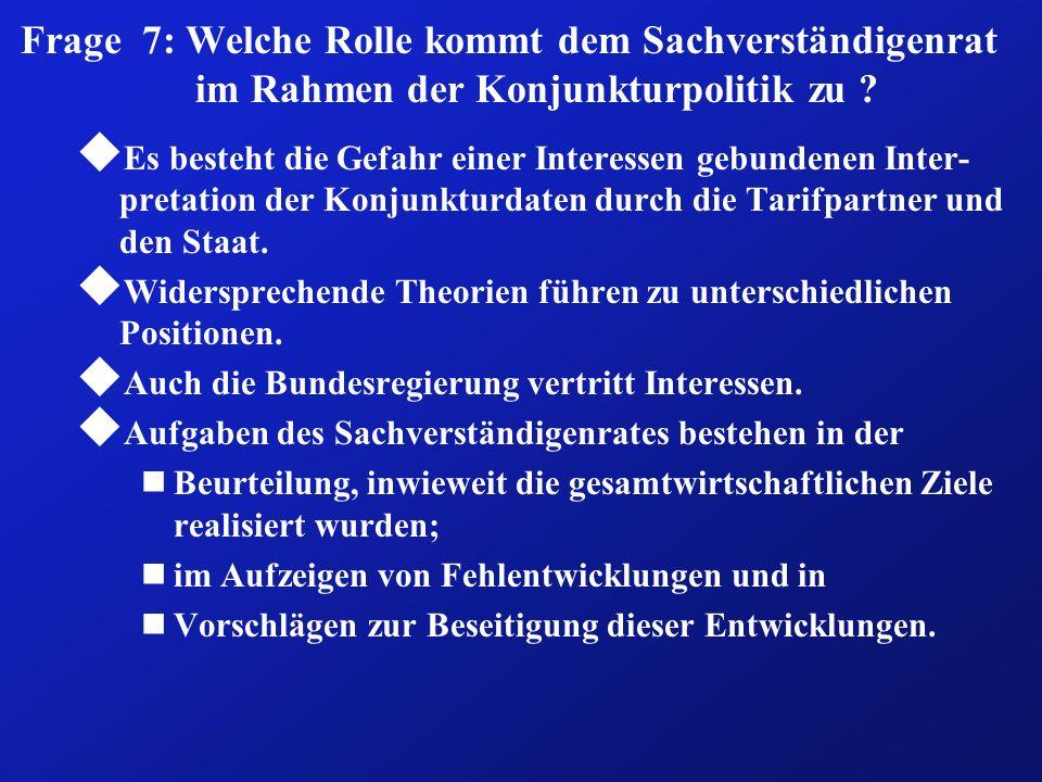 Frage 7: Welche Rolle kommt dem Sachverständigenrat im Rahmen der Konjunkturpolitik zu