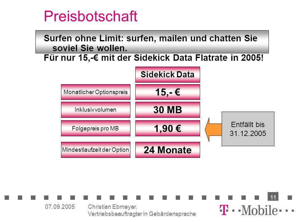 Preisbotschaft 15,- € 30 MB 1,90 € 24 Monate