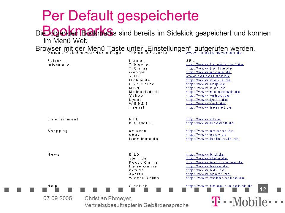 Per Default gespeicherte Bookmarks