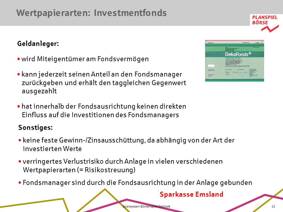 Wertpapierarten: Investmentfonds
