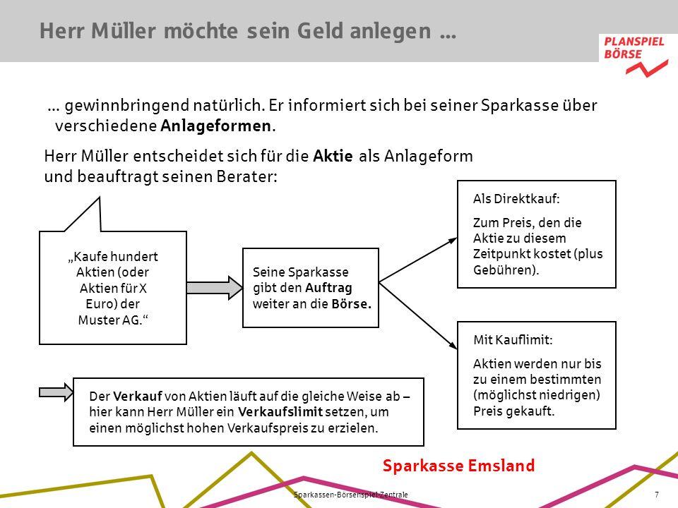 """""""Kaufe hundert Aktien (oder Aktien für X Euro) der Muster AG."""