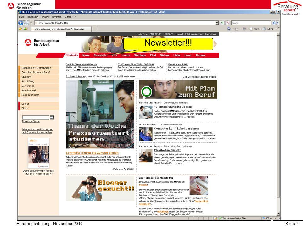 Newsletter!!! Berufsorientierung, November 2010
