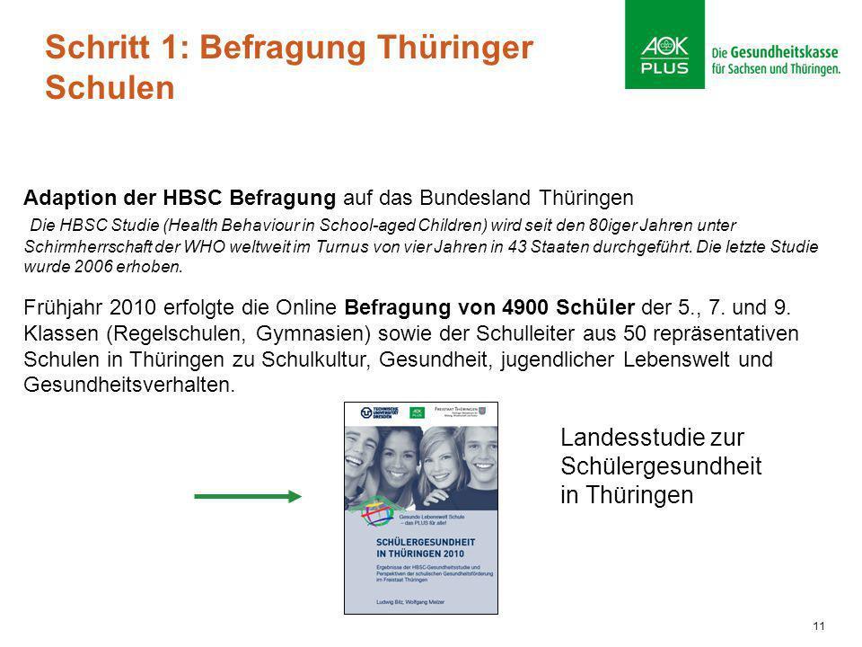 Schritt 1: Befragung Thüringer Schulen