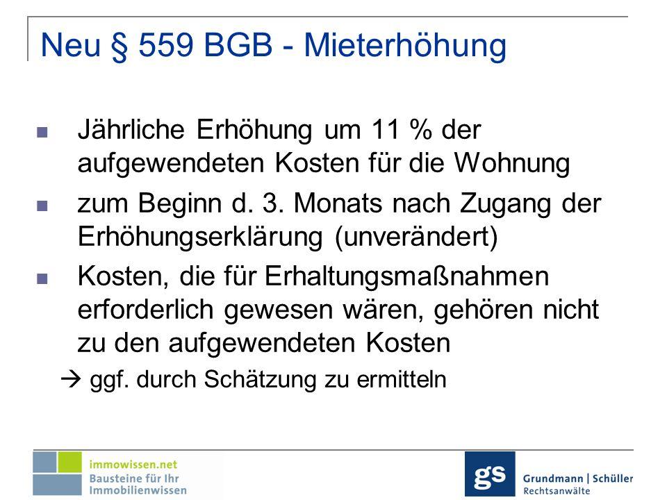 Neu § 559 BGB - Mieterhöhung