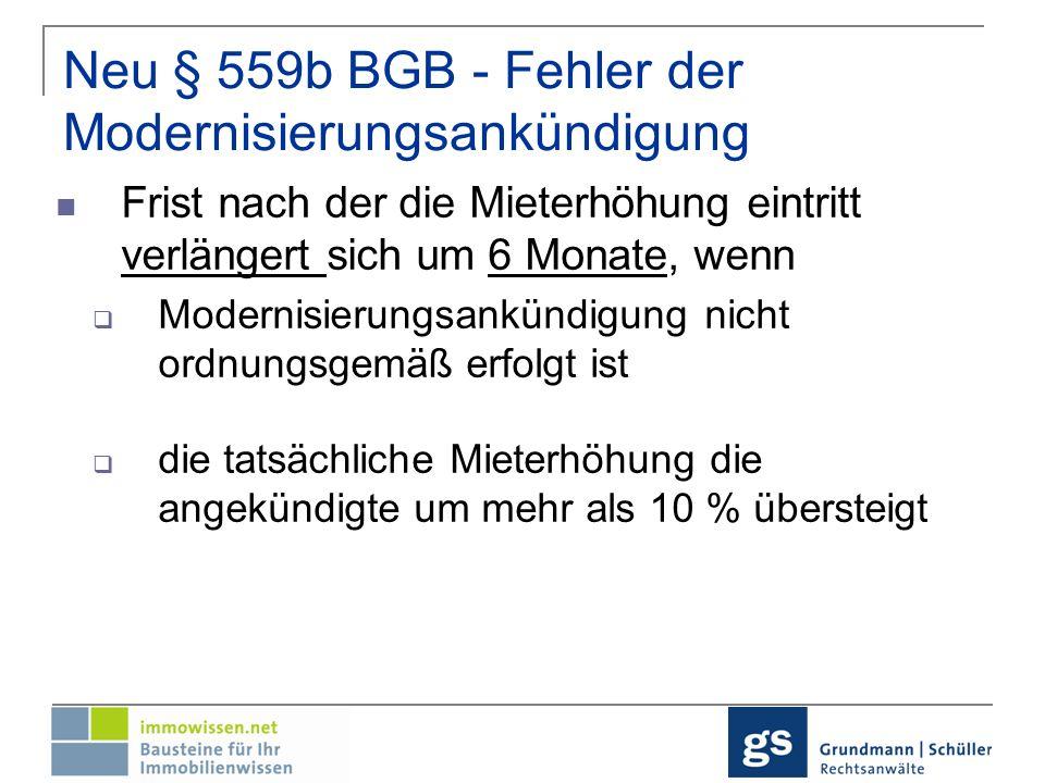 Neu § 559b BGB - Fehler der Modernisierungsankündigung