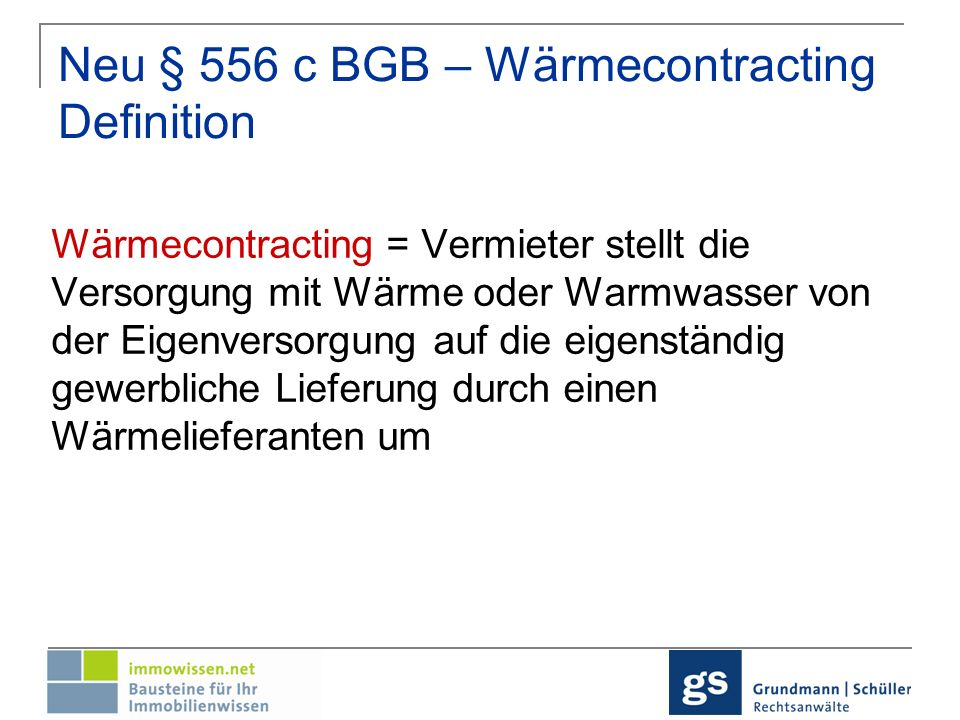 Neu § 556 c BGB – Wärmecontracting Definition