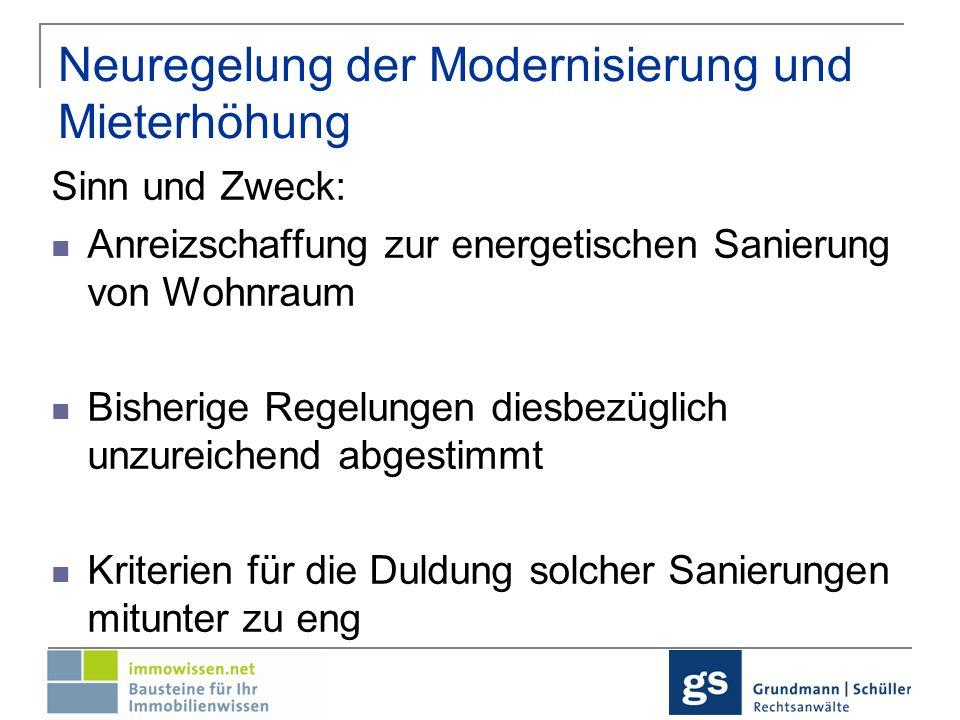 Neuregelung der Modernisierung und Mieterhöhung