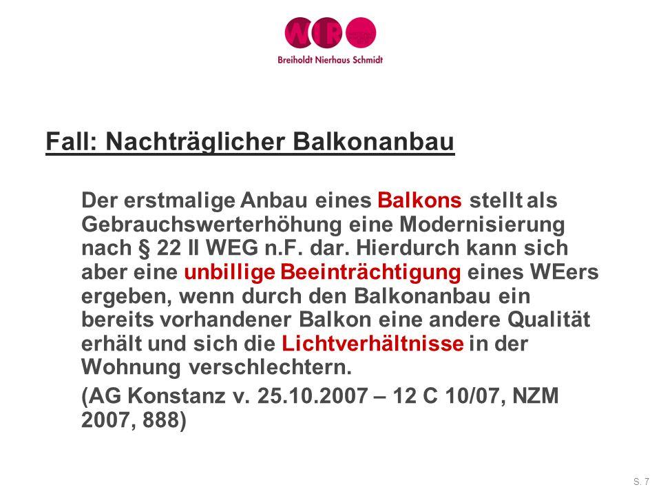 Fall: Nachträglicher Balkonanbau