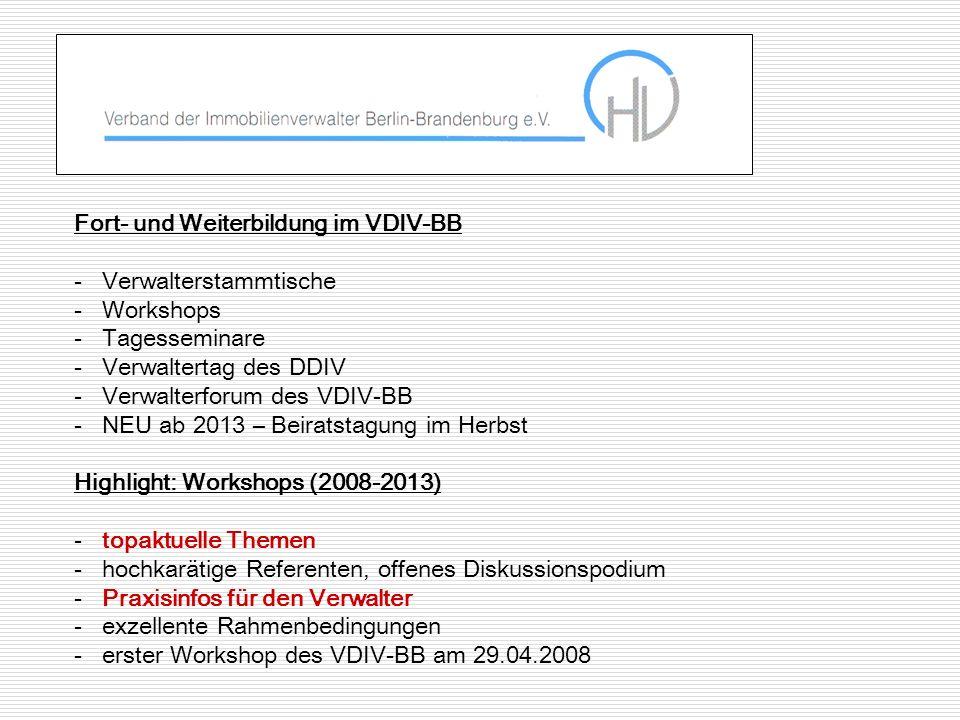 Fort- und Weiterbildung im VDIV-BB