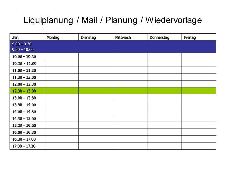 Liquiplanung / Mail / Planung / Wiedervorlage