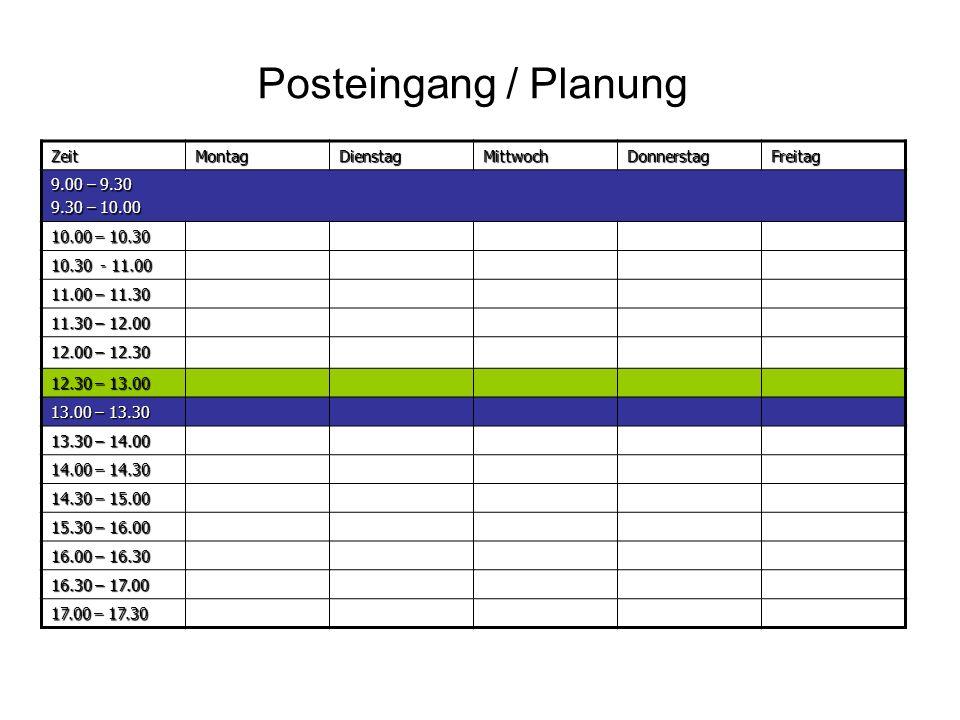Posteingang / Planung Zeit Montag Dienstag Mittwoch Donnerstag Freitag