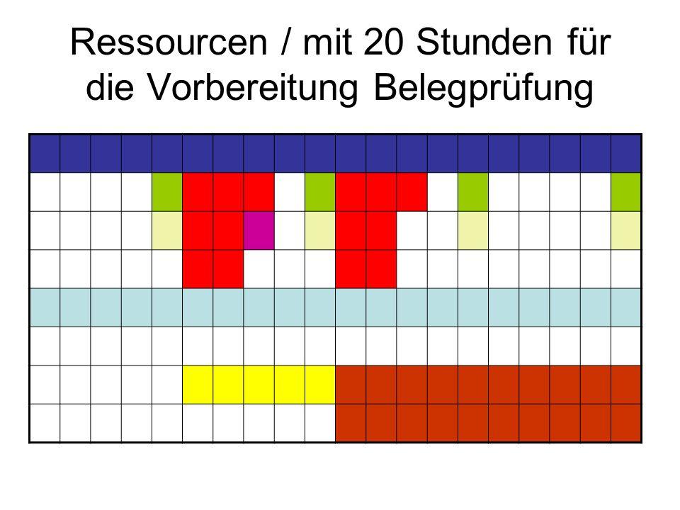 Ressourcen / mit 20 Stunden für die Vorbereitung Belegprüfung