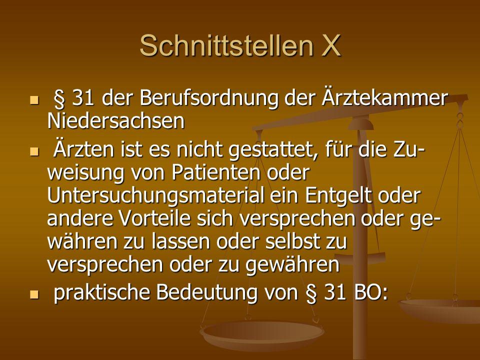 Schnittstellen X § 31 der Berufsordnung der Ärztekammer Niedersachsen
