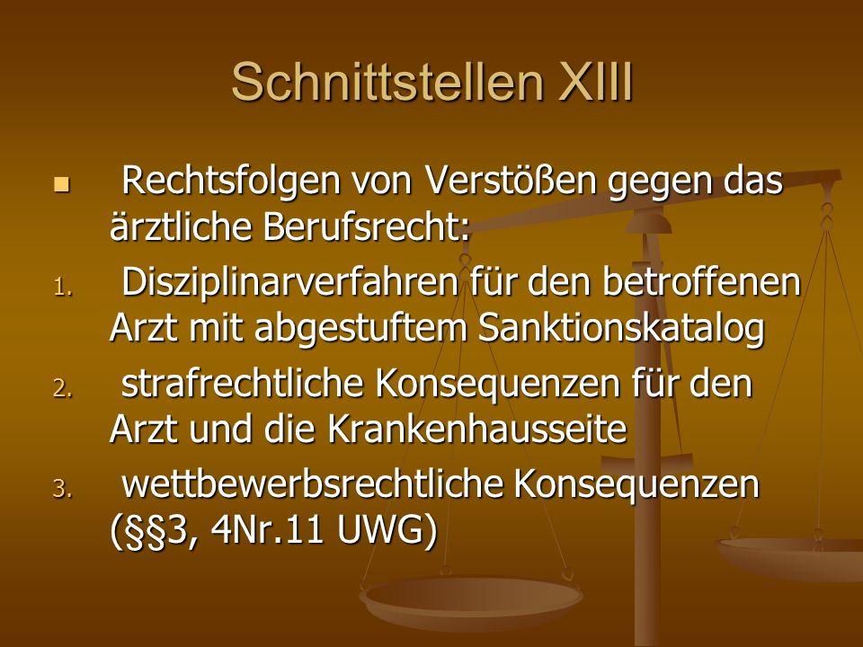 Schnittstellen XIII Rechtsfolgen von Verstößen gegen das ärztliche Berufsrecht: