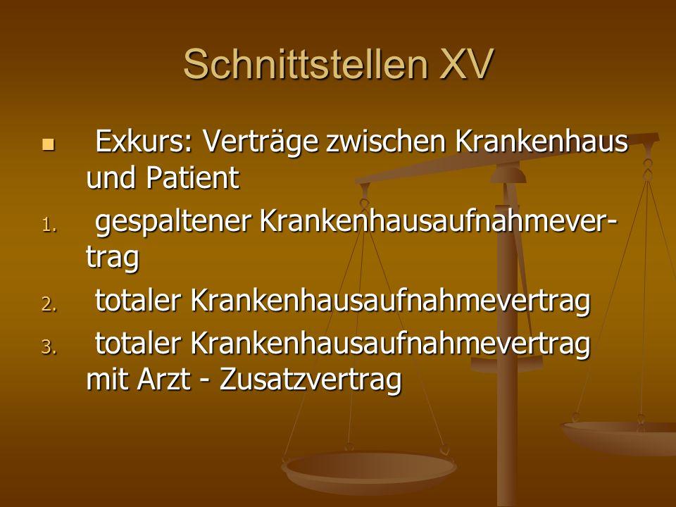 Schnittstellen XV Exkurs: Verträge zwischen Krankenhaus und Patient