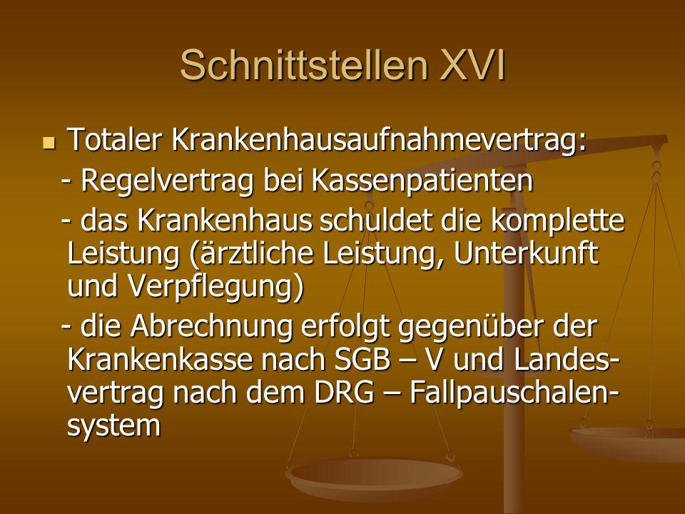 Schnittstellen XVI Totaler Krankenhausaufnahmevertrag: