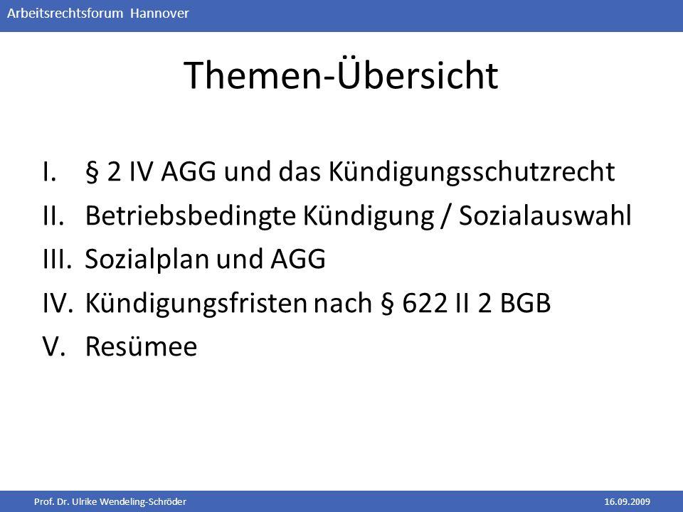 Themen-Übersicht § 2 IV AGG und das Kündigungsschutzrecht
