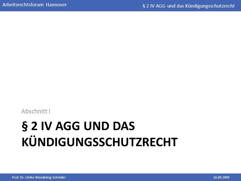 § 2 IV AGG und das Kündigungsschutzrecht