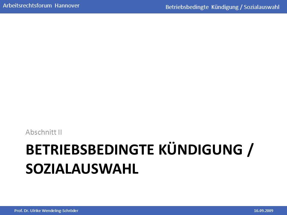 Betriebsbedingte Kündigung / Sozialauswahl