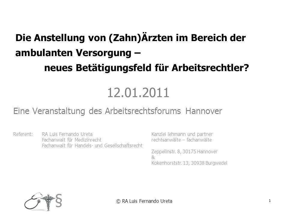 12.01.2011 Eine Veranstaltung des Arbeitsrechtsforums Hannover