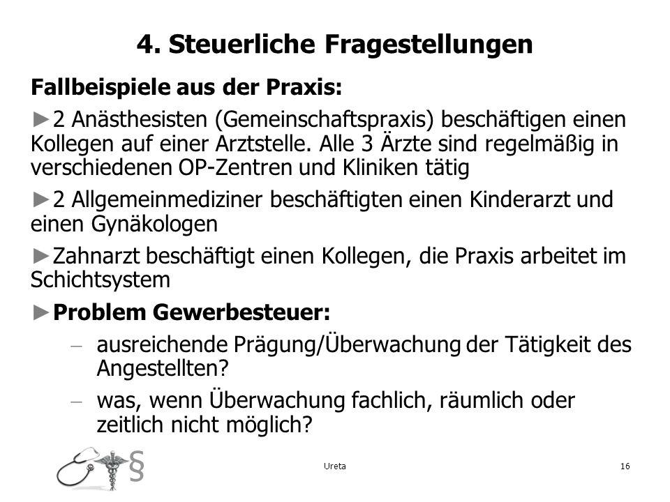4. Steuerliche Fragestellungen