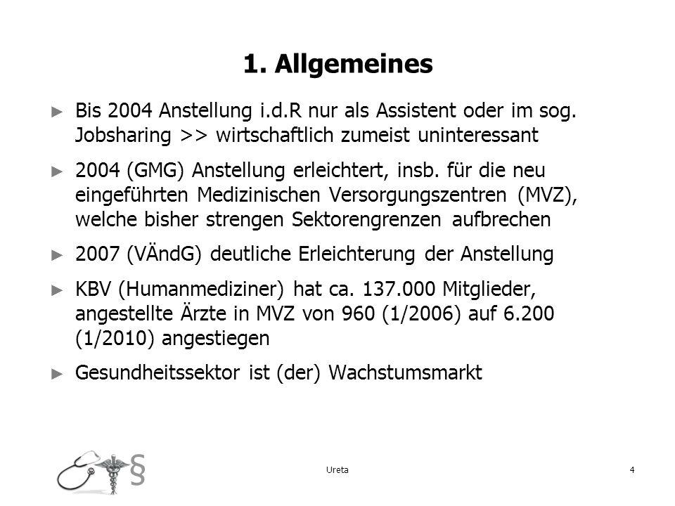 1. AllgemeinesBis 2004 Anstellung i.d.R nur als Assistent oder im sog. Jobsharing >> wirtschaftlich zumeist uninteressant.
