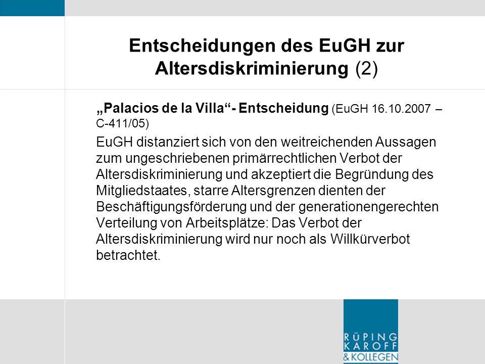 Entscheidungen des EuGH zur Altersdiskriminierung (2)