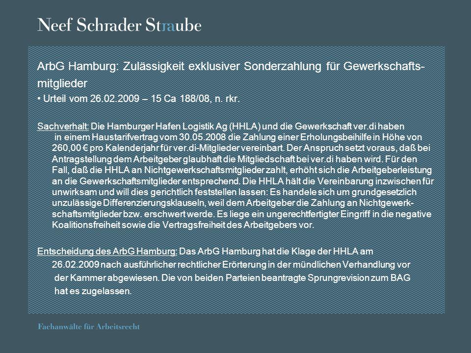 ArbG Hamburg: Zulässigkeit exklusiver Sonderzahlung für Gewerkschafts-